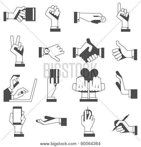 Hand icons set black