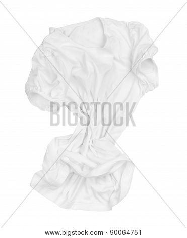 Blank White T-shirt On The Move In The Air On An Isolated White Background