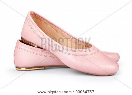 Beige Low-heeled Shoes located on a white background