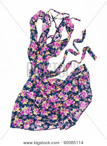 Summer Dress In Floral Print Movement In The Air On An Isolated White Background