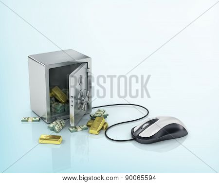 Safe With Gold And Money And Computer Mouse.internet Banking, Payment Concept.