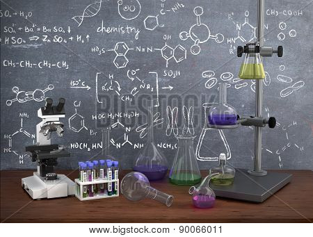 Laboratory Chemical Test Tubes And Objects On The Table With Chemistry Draw On Whiteboard.