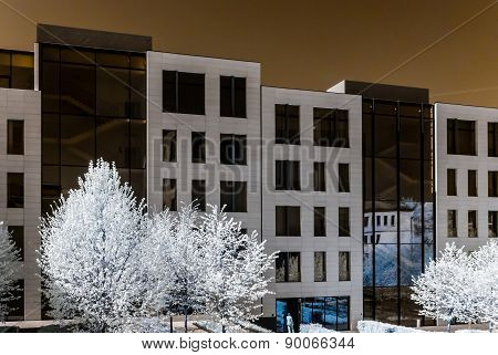 Modern Style Buildings In Center Of Moscow, Infrared View