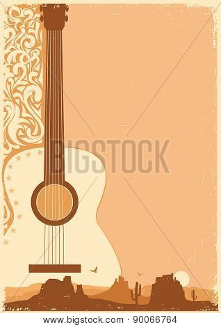 Concert Guitar Poster Music Festival On Ola Paper.