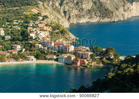 Assos village and beautiful sea bay, Kefalonia island, Greece