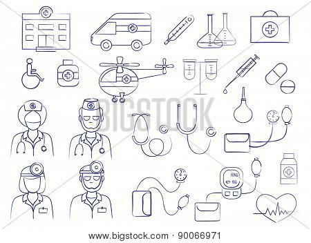 medical icons set (vector illustration)