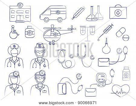 medical icons set (vector illustration)