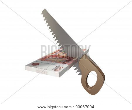 A Conceptual Image Of The Cut Funds. Isolated On White Background
