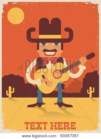 Cowboy Playing Guitar.vector Country Music Illustration