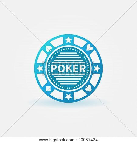 Poker chip blue vector icon