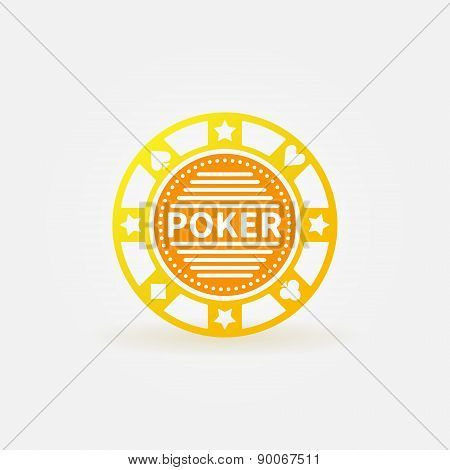 Poker chip gold vector icon