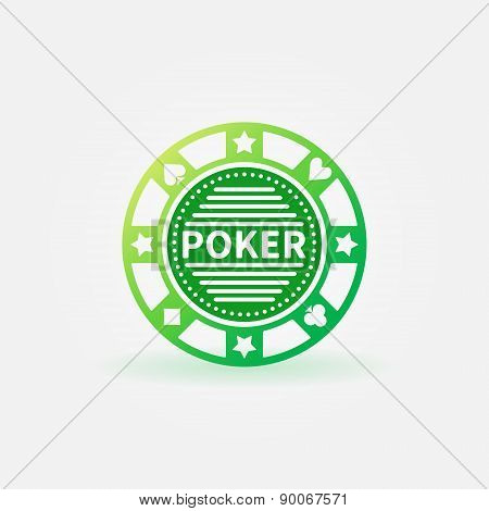 Poker chip green vector icon