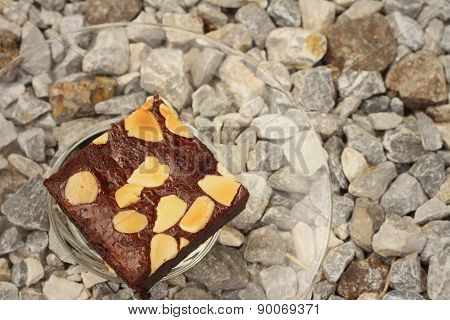 Brownies In A Plate On The Background Of The Stone