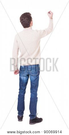 back view of writing man in a white knit sweater. Young man in jeans draws. Rear view people collection.  backside view of person. Isolated over white background.
