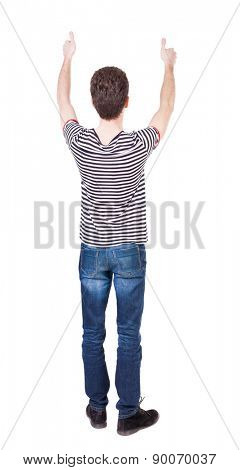Back view of  man thumbs up. Rear view people collection. backside view of person. Isolated over white background.  Curly kid in a striped shirt with two hands showing thumb.