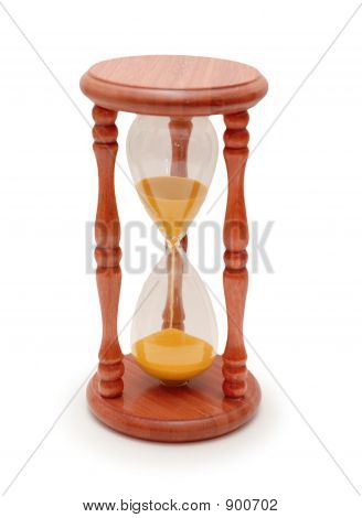 Wooden Hourglass Isolated On White Background With Shadow