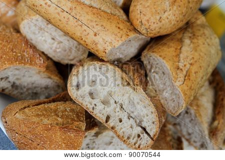Fresh pieces of french bread to eat