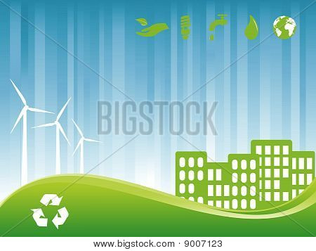 Environmentally friendly green city with wind turbines