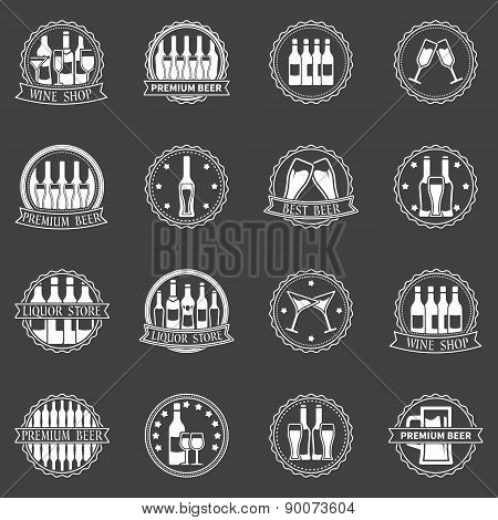 Beer and wine labels vector set