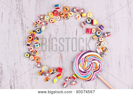 assorted colourful fruit candies and lollipop