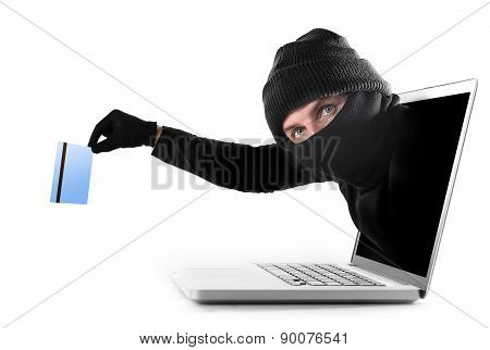 Cyber Criminal Out Of Computer Grabbing And Stealing Credit Card Cyber Crime Concept