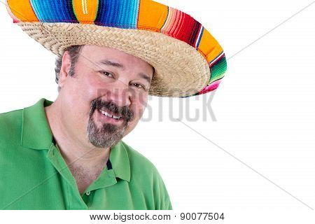 Welcoming Man In Mexican Sombrero With Copy Space