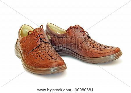 Men's Leather Shoes On A White Background.
