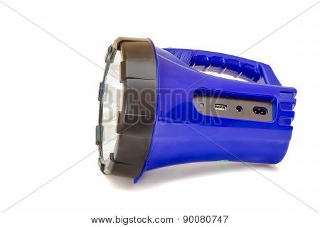 Electric Rechargeable Led Flashlight On A White Background.