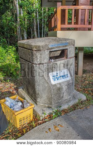 Bin Made From Cement With Thai Wording Mean Garbage Disposal Here