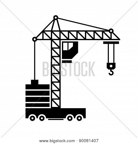 Crane Icon. Silhouette on White Background. Vector