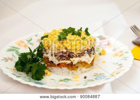 Traditional Russian Salad Mimosa
