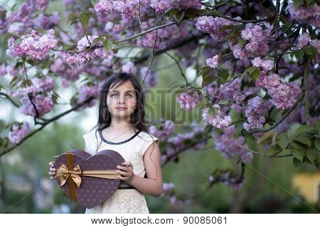 Little Girl With Present Box