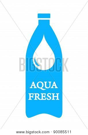 aqua fresh icon with bottle and water drop