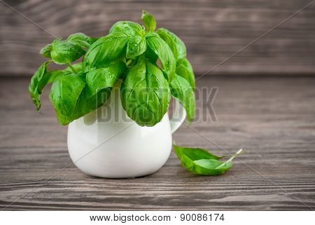 Bunch green basil on wooden board