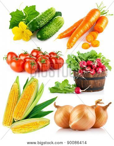Set fresh vegetables. Isolated on white background