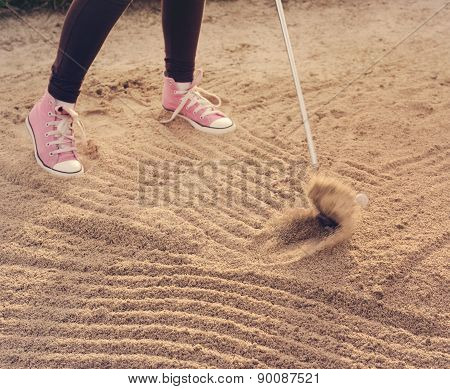 Golf Swing, Teenager Out Of Sandtrap