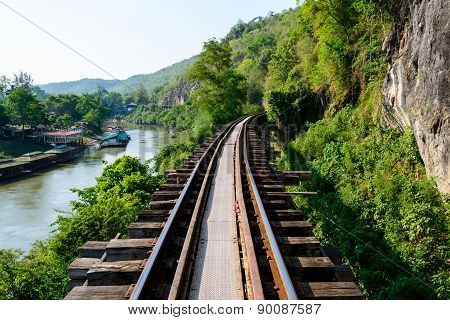 Train Track With River And Mountain View, Railway In Thailand