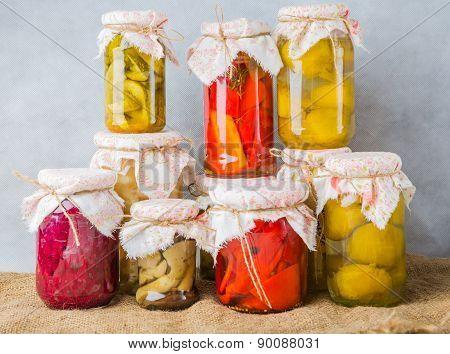 Homemade Preserved Vegetables In Jars