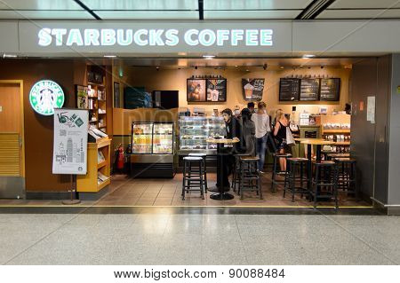 HONG KONG - MAY 05, 2015: Starbucks cafe interior. Starbucks is the largest coffeehouse company in the world, with more then 23000 stores