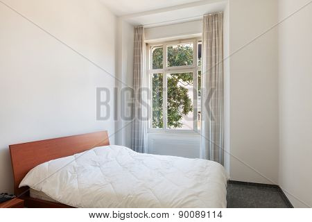 Architecture, apartment furnished, bedroom with double bed