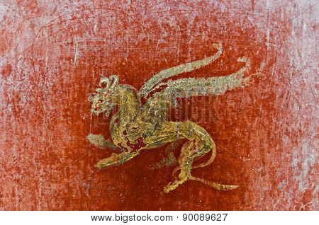 Detail Of The Fresco In Pompeii With Winged Griffin