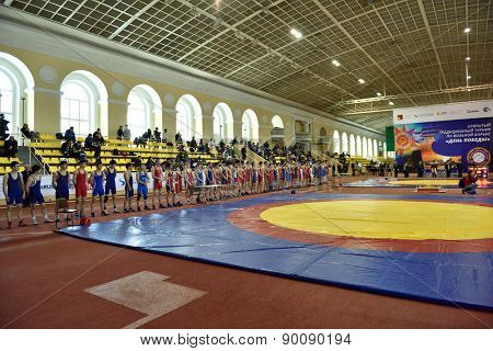 ST. PETERSBURG, RUSSIA - MAY 6, 2015: Parade during the opening ceremony of International freestyle wrestling tournament Victory Day in Mikhailovsky manege. The event dedicated to the Victory in WWII