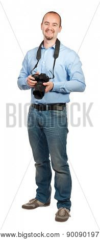 smiling photographer isolated on white background