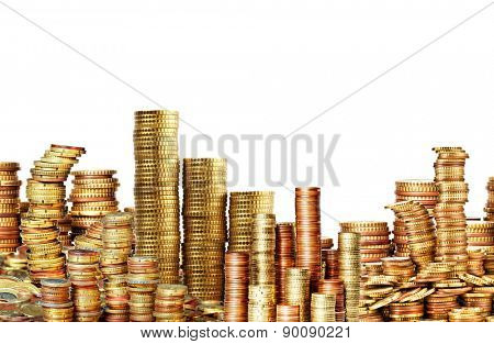 lots of golden coins isolated on white