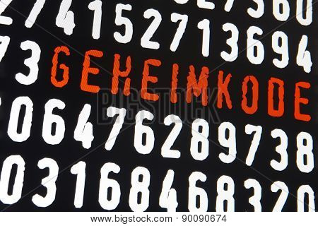 Computer Screen With Geheimkode Text On Black Background