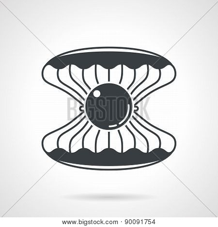 Scallop with gem black vector icon