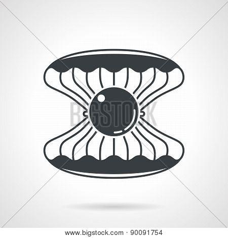 Scallop with gem black vector icon