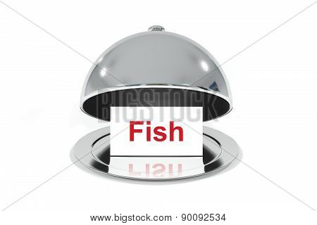 Opened Silver Cloche With White Sign Fish