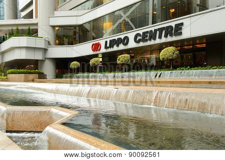 HONG KONG - MAY 05, 2015: Lippo Centre tower. Lippo Centre is a twin-tower skyscraper complex completed in 1988 at 89 Queensway, in Admiralty on Hong Kong Island in Hong Kong, China.