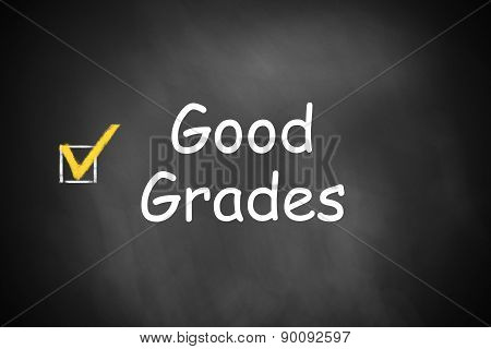 Black Chalkboard Good Grades Checkbox Checked